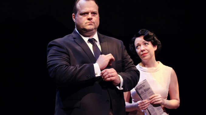 "Scott Greer (left) and Amanda Schoonover perform in ""Rizzo."" 