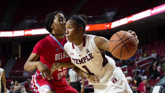 Erica Covile drives by NaJai Pollard in the second quarter of the Owls' 100-59 win against Delaware State Nov. 19| Daniel Rainville