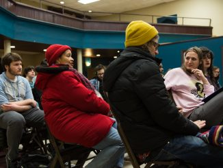 Students and community members met at a Stadium Stompers meeting at the Church of the Advocate Feb. 25. | Patrick Clark TTN