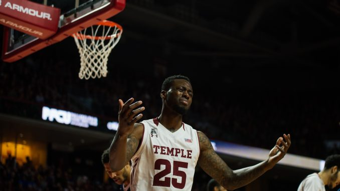 Senior guard Quenton DeCosey reacts to a call in the first half of Temple's 67-83 loss against No. 1 Villanova on Wednesday at the Liacouras Center. | HOJUN YU TTN
