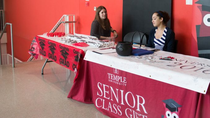 Julie Wilkins (left), who oversees the senior class gift and student philanthropy, and Christina Youwakim, a neuroscience major and a committee member for the senior class gift, sit and discuss fundraising at the the Tyler School of Art Carnival on April 26, 2016. | KATHRYN STELLATO TTN