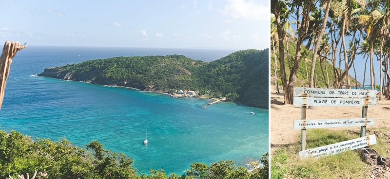 Viewpoint from Terre de Haut on Les Saintes with turquoise waters and sailboats