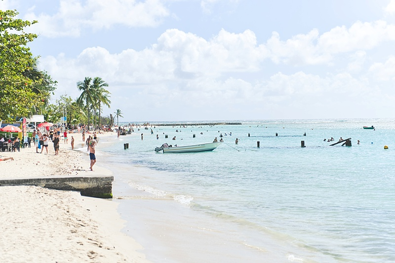 Sainte Anne Beach and marketplace for a fun afternoon date on your Guadeloupe honeymoon
