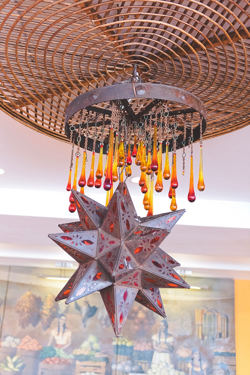 Elegant hanging metal Mexican star at Hacienda Encantada for rustic decor lighting