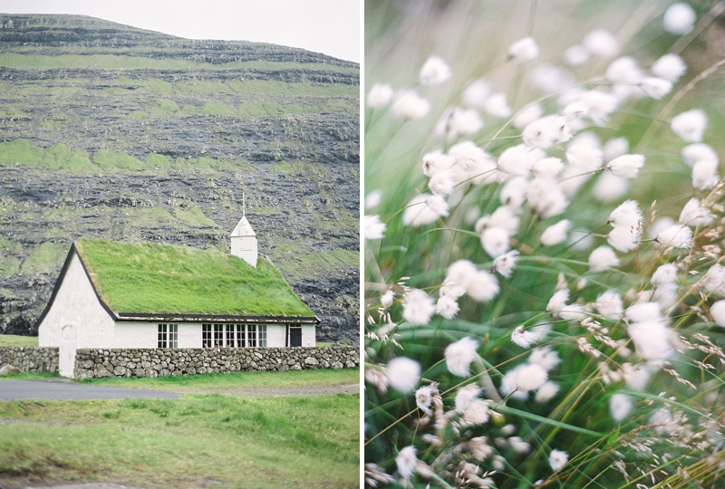Grass covered village church in Saksun, Faroe Islands