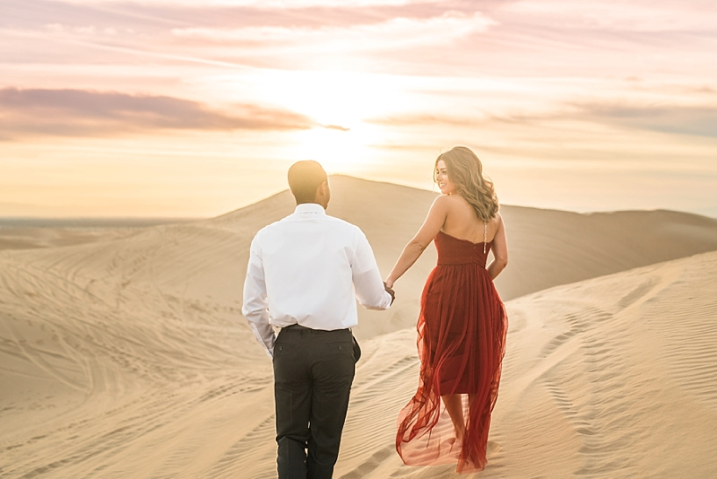 Glamorous Imperial Sand Dunes California Engagement Session at Sunset