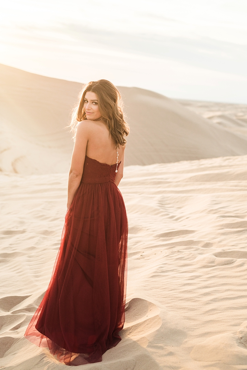 Elegant Red Tulle Dress for Imperial Sand Dunes California  Engagement Session