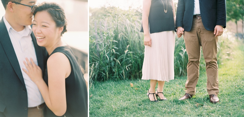 Blush pink skirt and khaki pants for stylish romantic photo session
