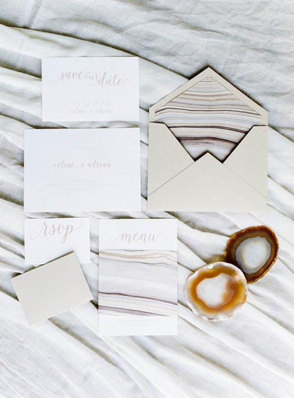 Neutral colored agate stone inspired wedding invitation suite