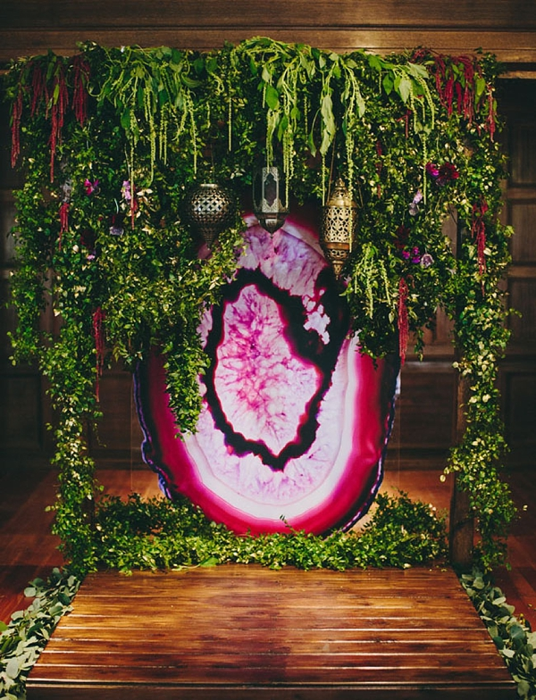 Giant faux purple pink agate slice for wedding ceremony backdrop