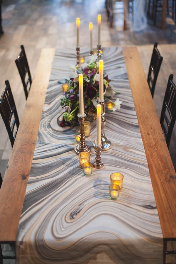 Gray and brown agate inspired wedding table runner