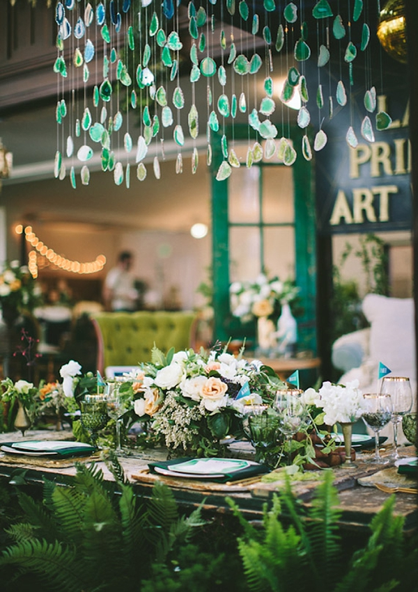Emerald green agate stone hanging chandelier for unique wedding centerpiece