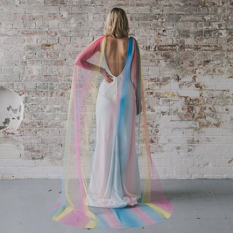Rad rainbow bridal tulle cape for alternative veil and bride