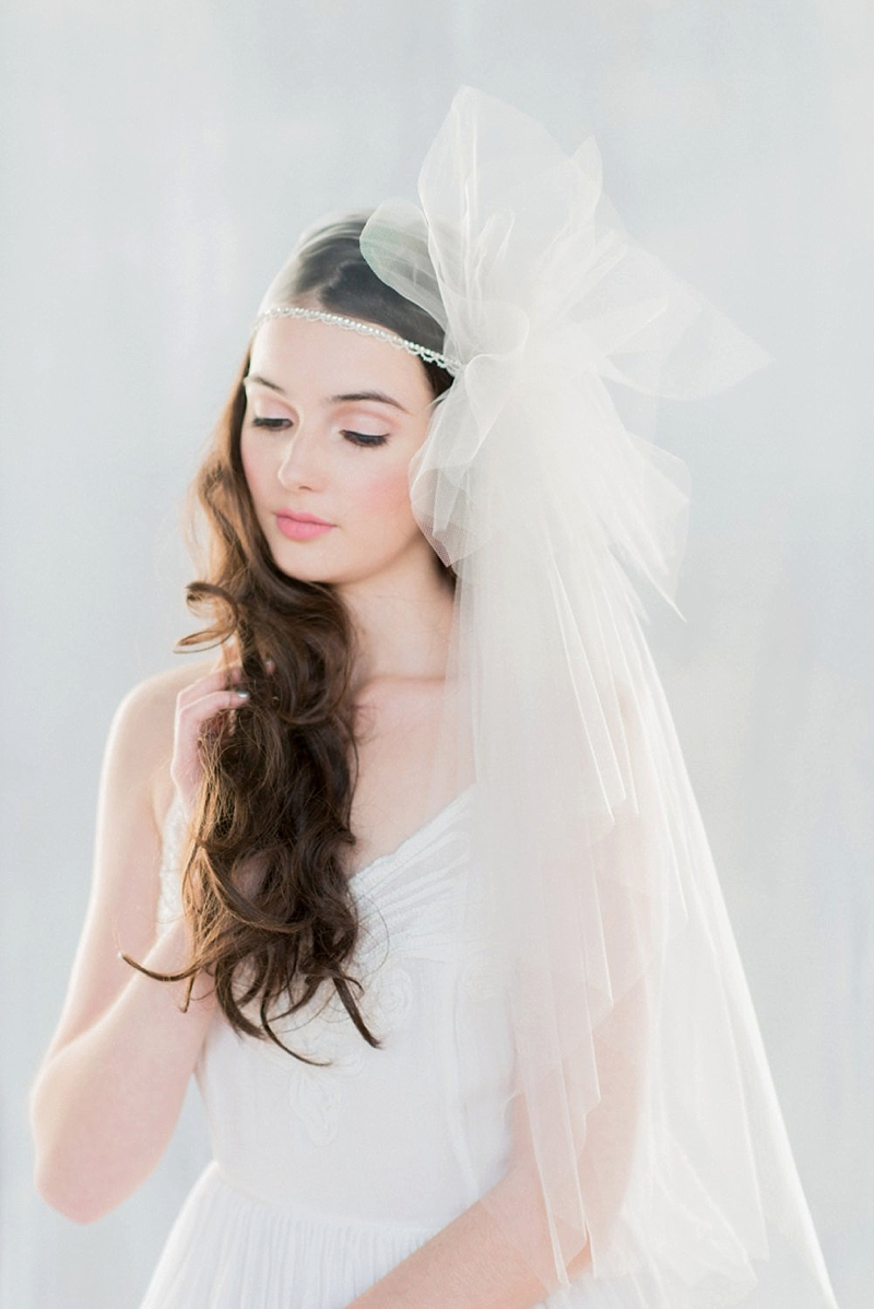 Modern couture tulle bridal pouf veil alternative for fashionable bride