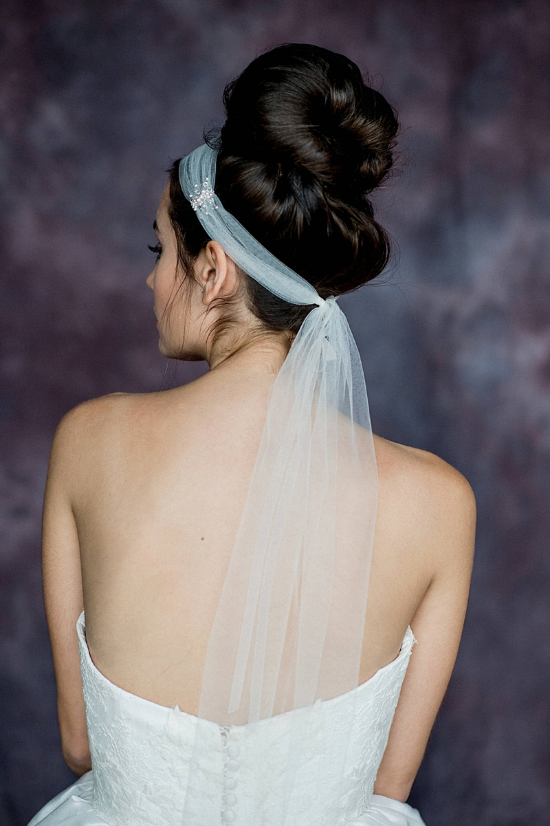 Tulle headband bridal veil alternative with clustered pearls and beads