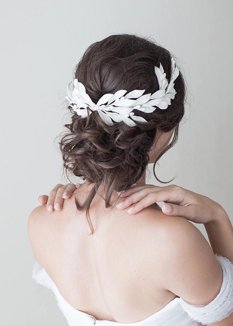 White porcelain leaves for romantic halo veil alternative for classic bride
