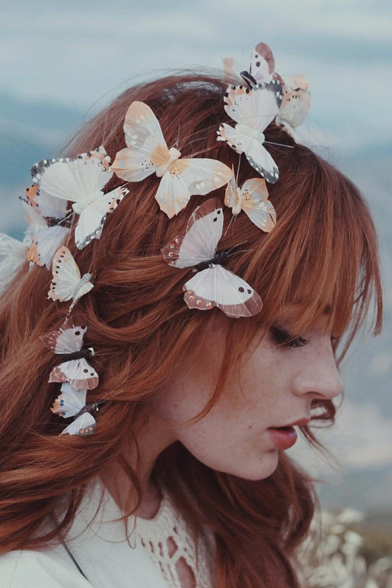 Whimsical butterflies for bridal veil alternative for festival bride