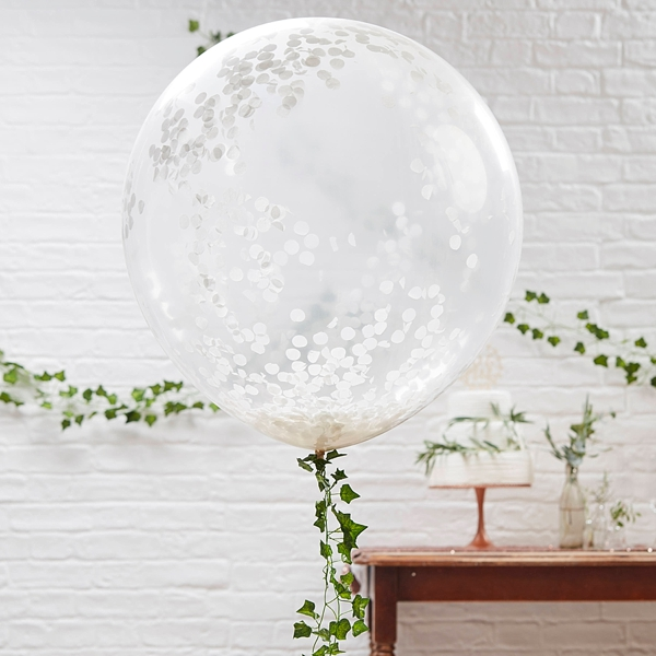 White confetti filled jumbo balloons