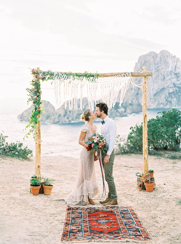 Rustic Beach Wedding Ceremony Arch With Macrame And Cactus