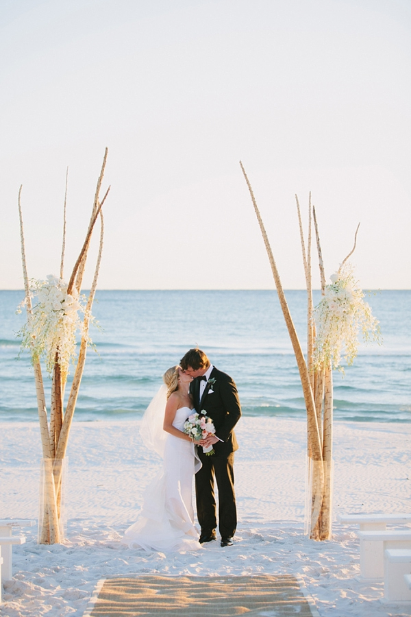 Eclectic modern birch beach branches for wedding ceremony arch