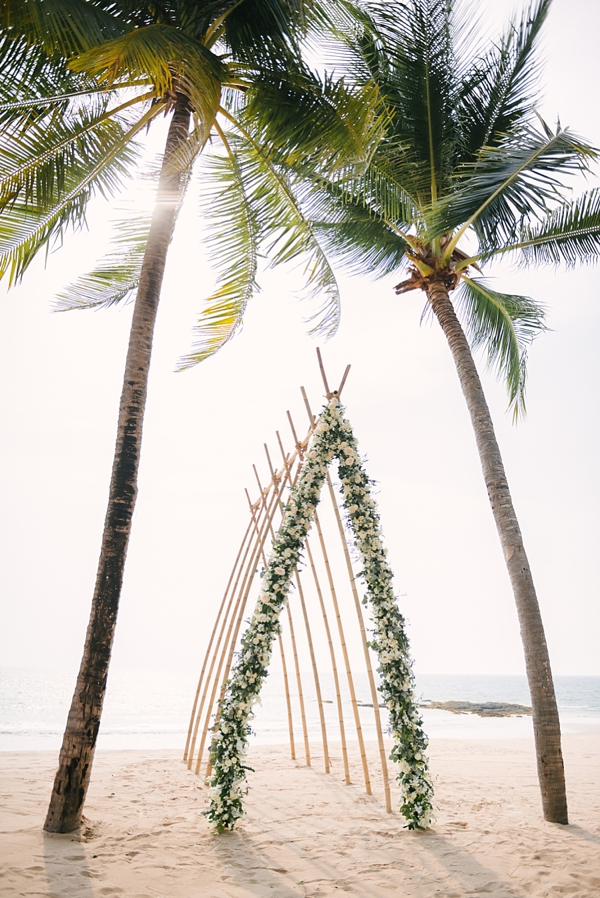 Thailand inspired bamboo beach wedding ceremony