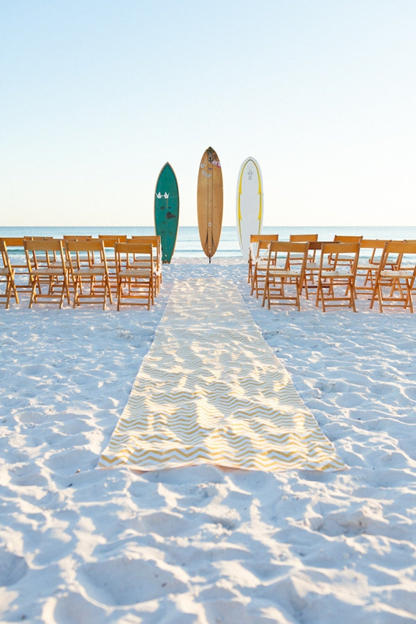 Vintage surfboards for beach wedding ceremony