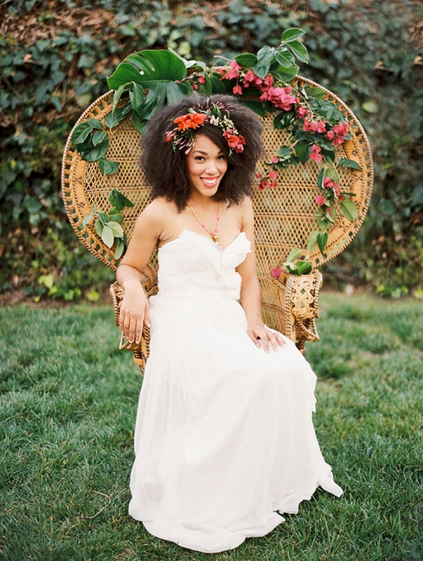 Full combed out natural hair with flower crown for boho black bride