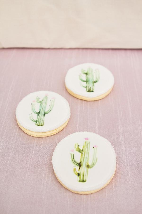 Painted cactus cookies