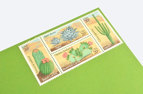 Vintage cactus postage stamps for cactus wedding