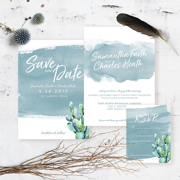 Blue coastal cactus watercolor wedding invitations