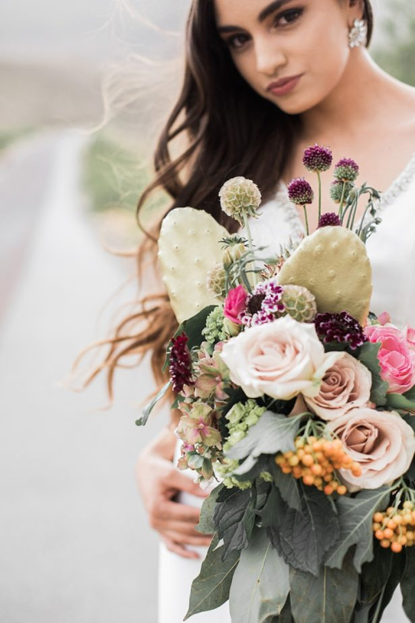 Prickly pear cactus wedding bouquet with wildly textured flowers
