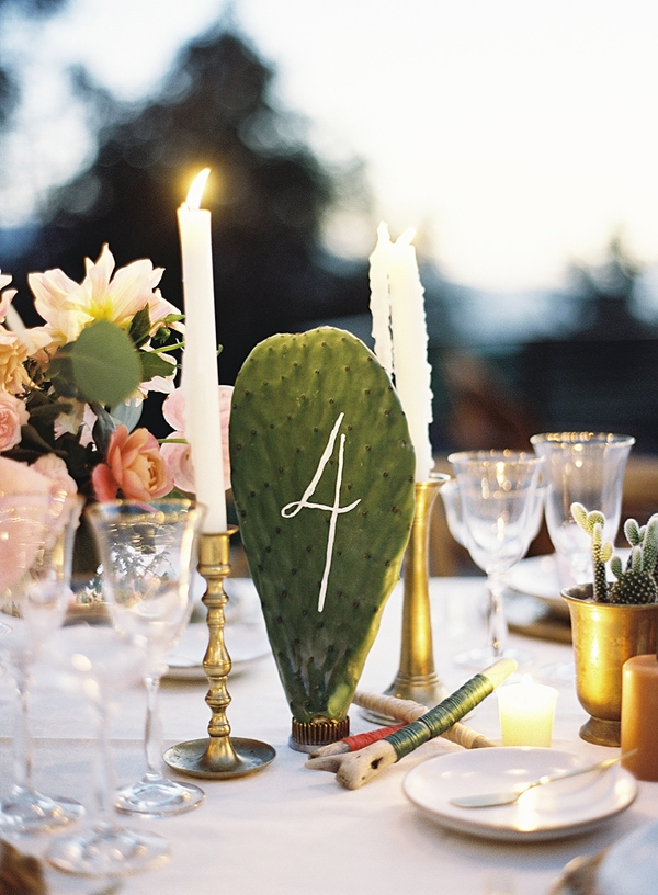 Cactus wedding table number