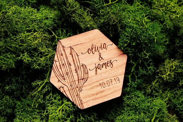 Wood engraved cactus wedding save the date