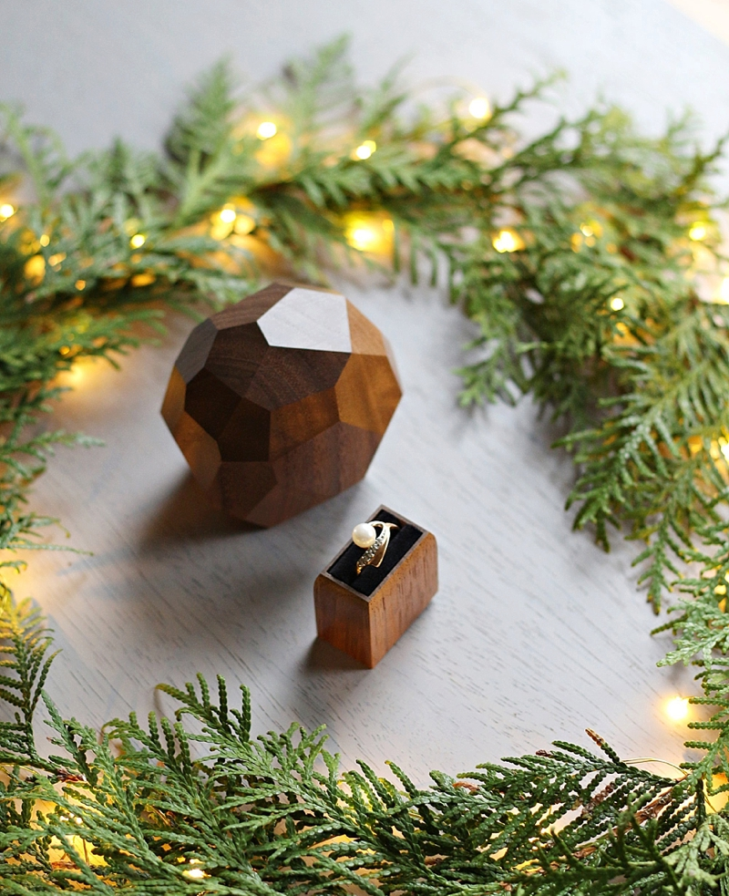 Faceted wood engagement ring box with secret drawer for the ring
