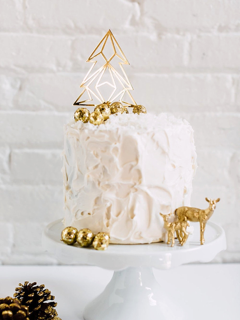 Chic modern gold wedding cake topper with geometric Christmas tree