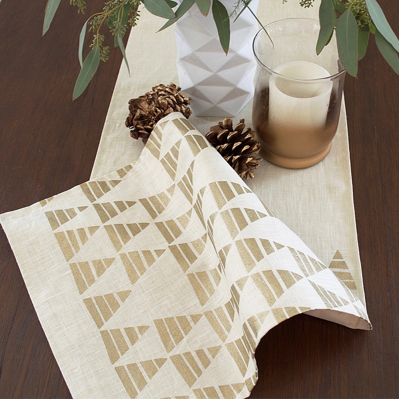 Modern Christmas tree table runner for holiday wedding