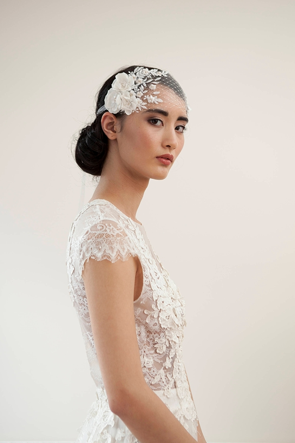 Birdcage French netting headband veil with organza tie