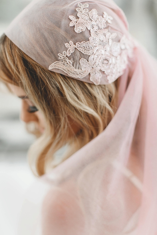 Blush pink juliet cap veil with large lace applique in ballet length