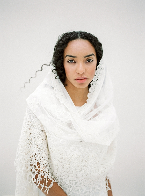 Bohemian bridal scarf veil with cotton lace trim and mantilla design