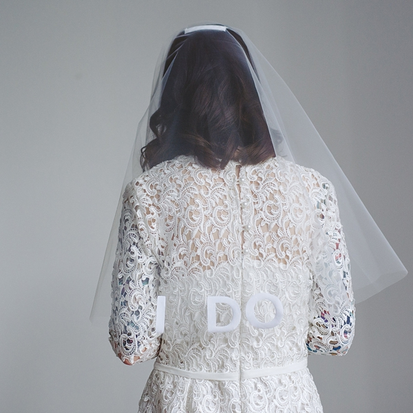 Custom I Do slogan circle veil