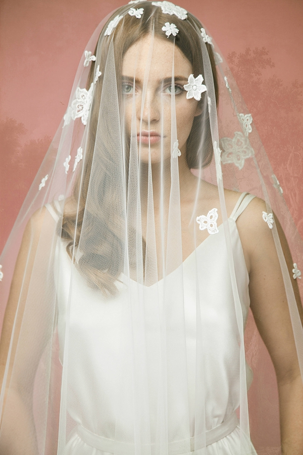 Retro cotton flowers scattered on tulle wedding veil