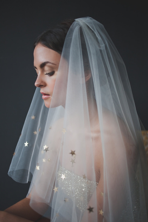 Golden star trim celestial inspired bridal veil