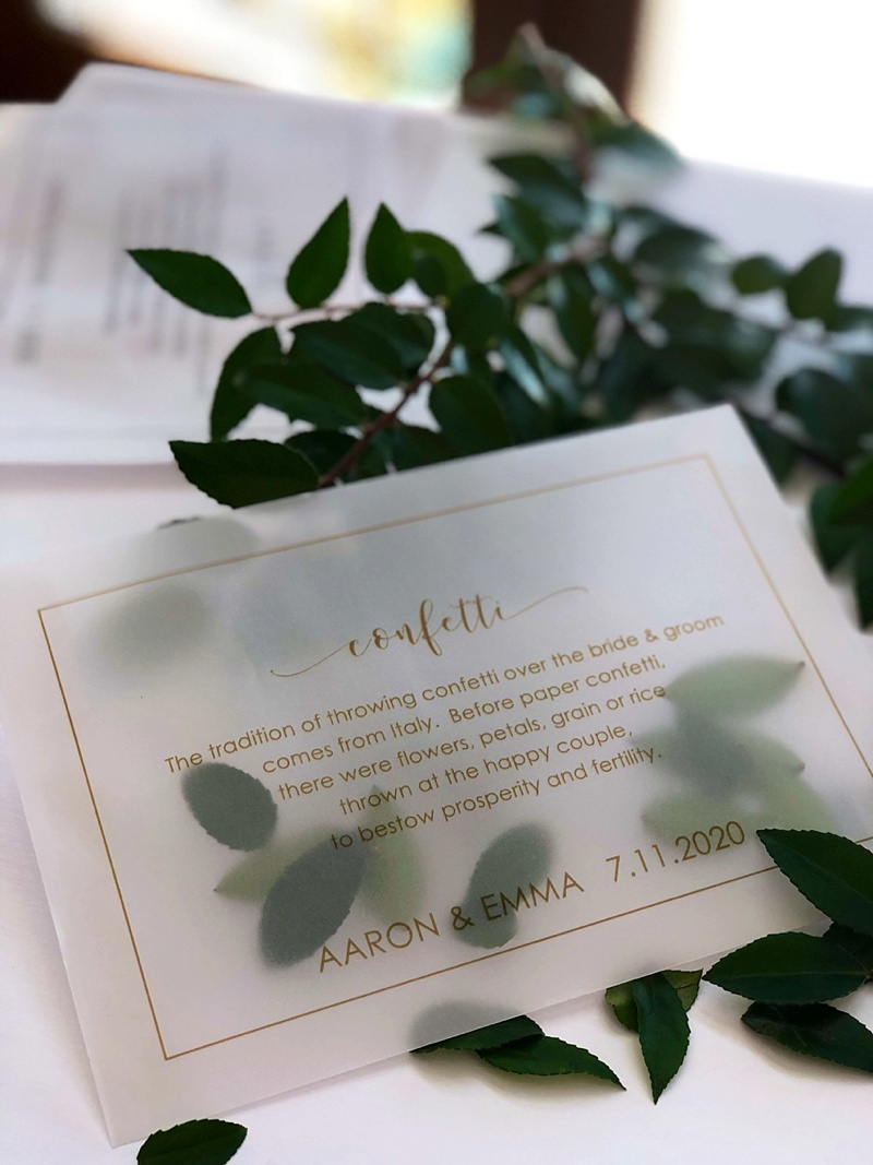 Recyclable vellum wedding envelope pouch for leaf confetti