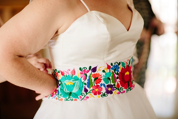Colorful embroidered bridal sash