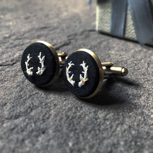 Rustic deer antler embroidered wedding cuff links