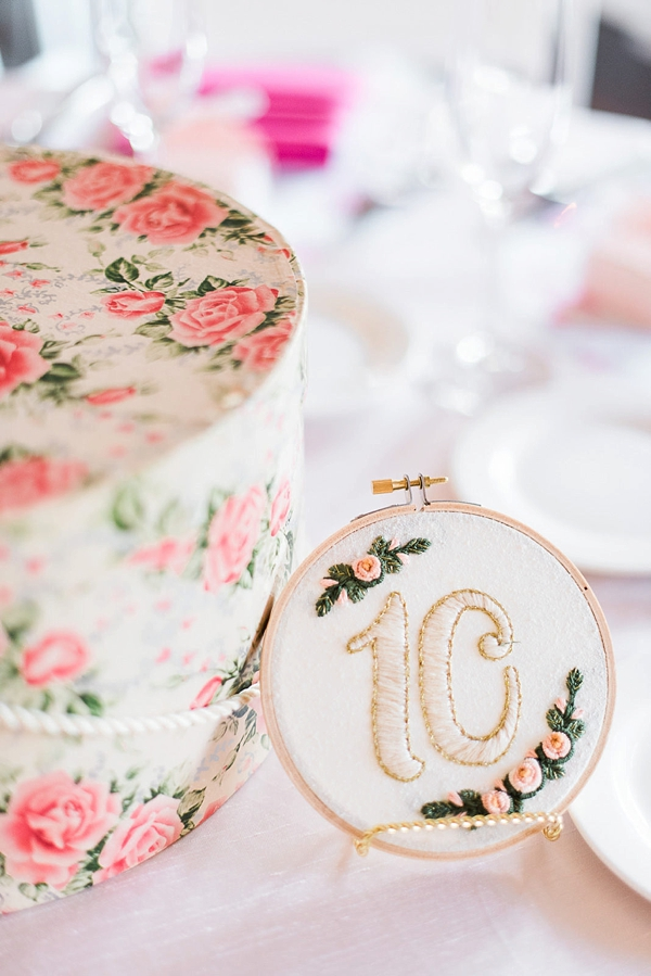 Vintage inspired embroidered wedding table number