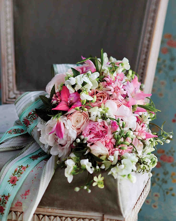 Pink wedding bouquet with embroidered ribbons