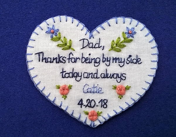 Embroidered tie patch gift for father of the bride or groom