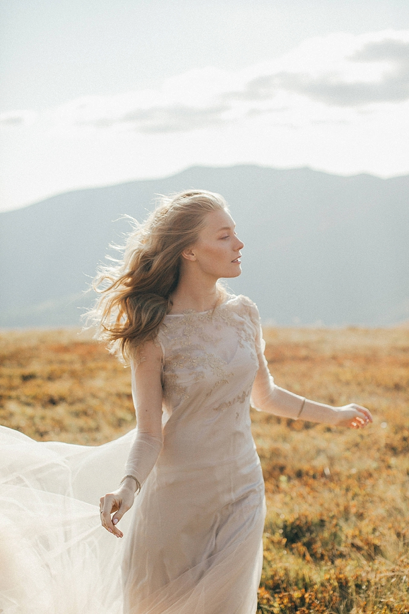 Flowy gold chiffon wedding dress