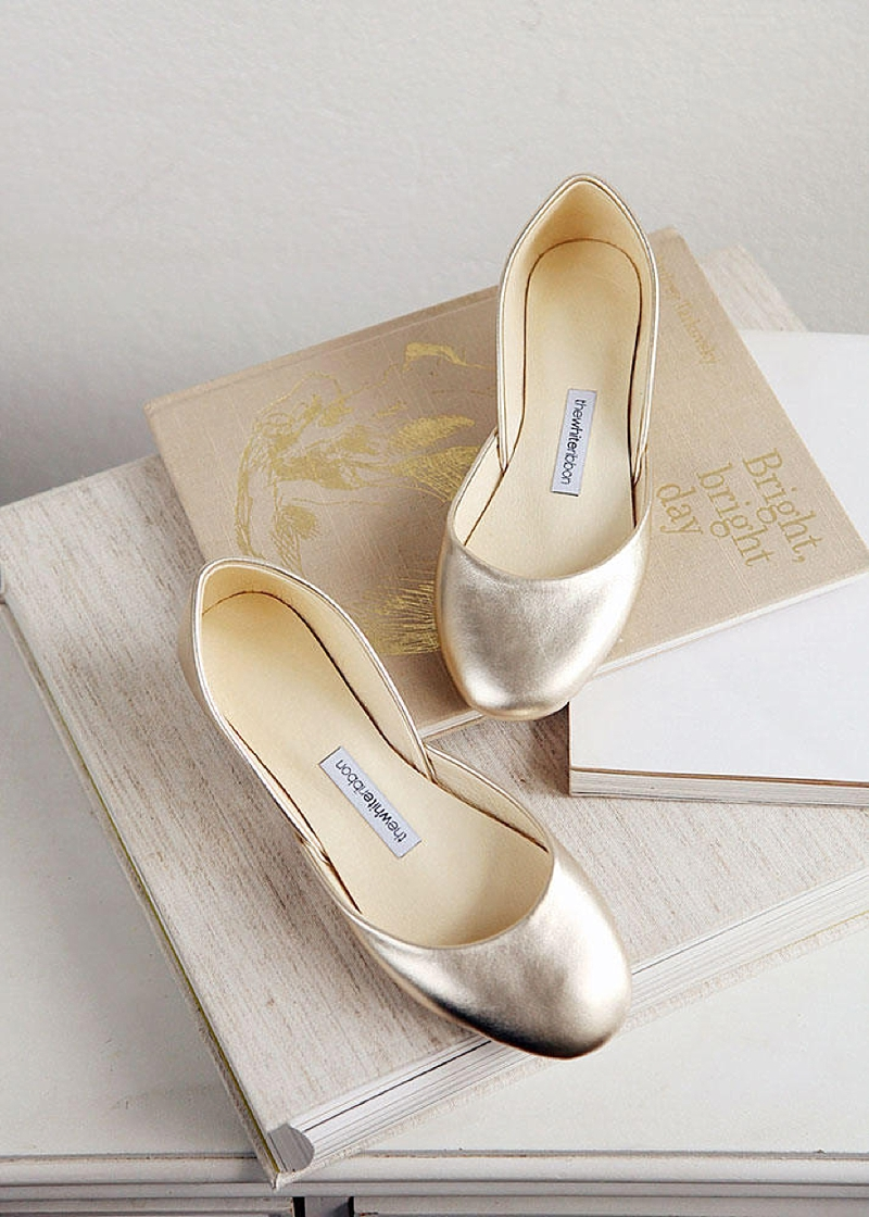 Simple gold leather ballet flats for comfortable wedding shoes